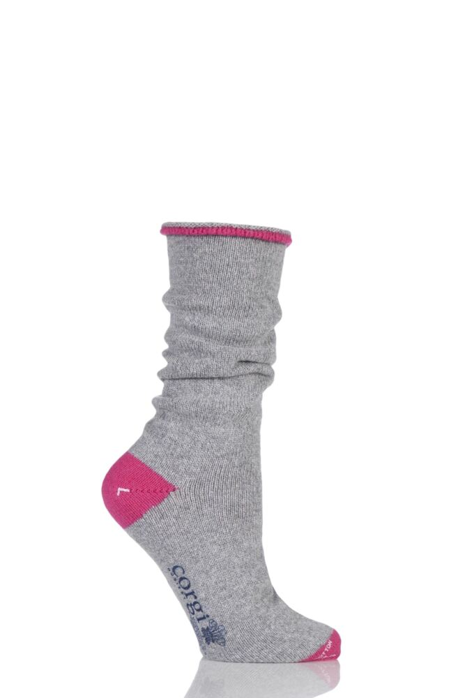 Ladies 1 Pair Corgi Cashmere and Cotton Tipped Socks