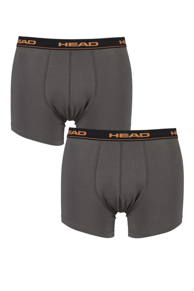Mens 2 Pack Head Basic Cotton Boxer Shorts In Grey