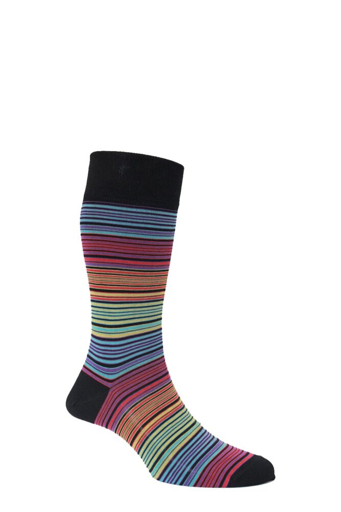 Mens 1 Pair HJ Hall Mercerised Cotton Atlanta Multi Coloured Fine Striped Socks 25% OFF