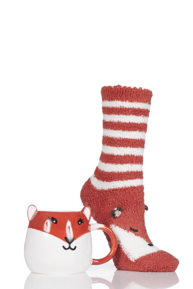 Ladies 1 Pair Totes Super Soft Slipper Socks with Mug