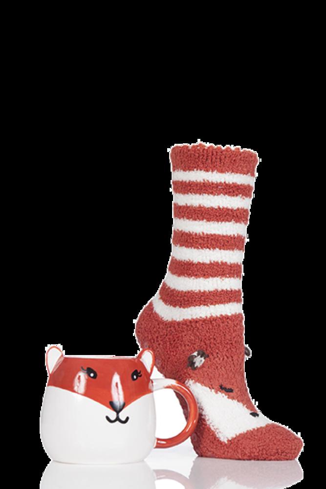 Totes Super Soft Slipper Socks with Mug Fox