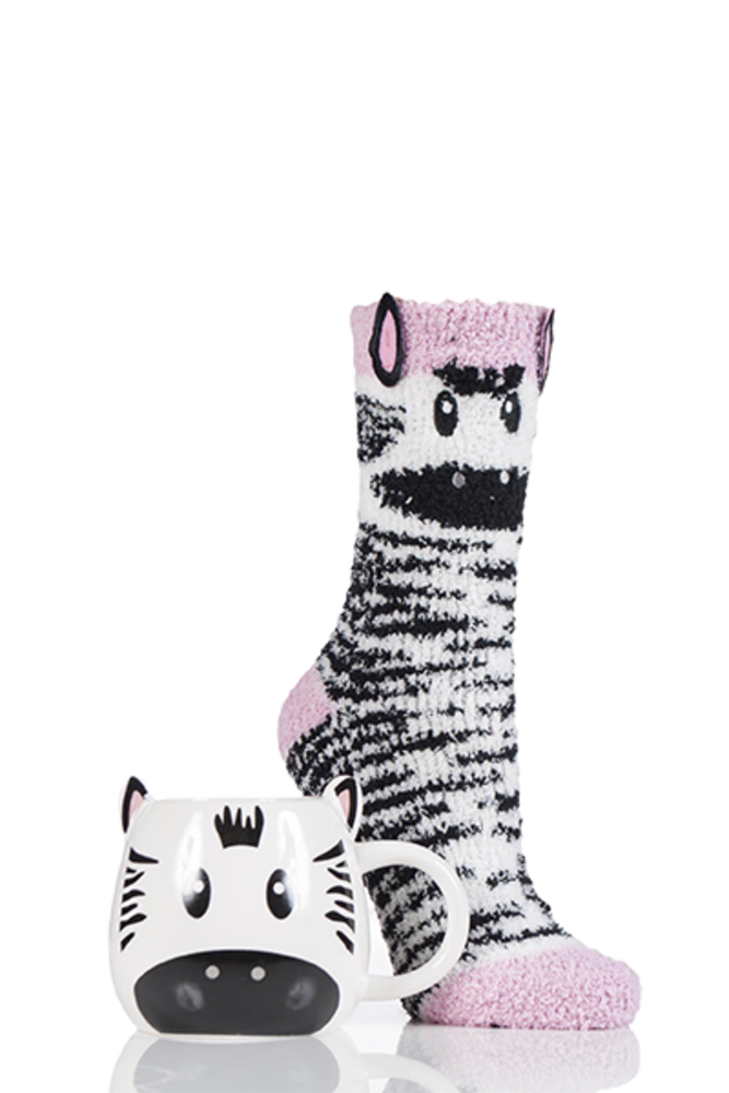 Totes Super Soft Slipper Socks with Mug Zebra