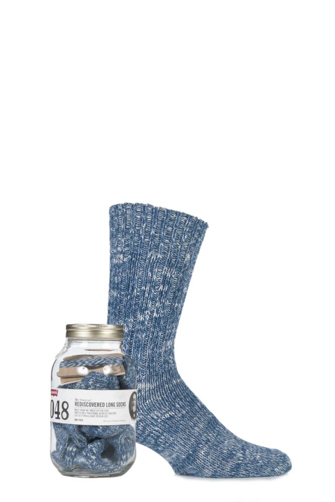 Mens 1 Pair Levis Gift Jarred Cotton Vintage Cut Socks with Darning Kit