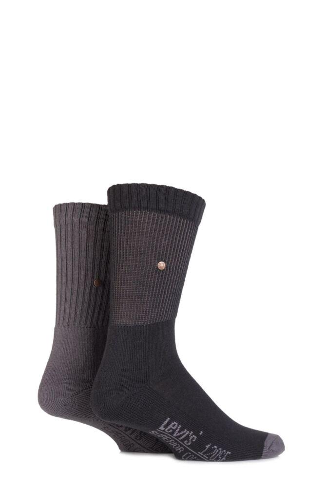 Mens 2 Pair Levis 120SF Classic Rib Inside Out Cushioned Socks