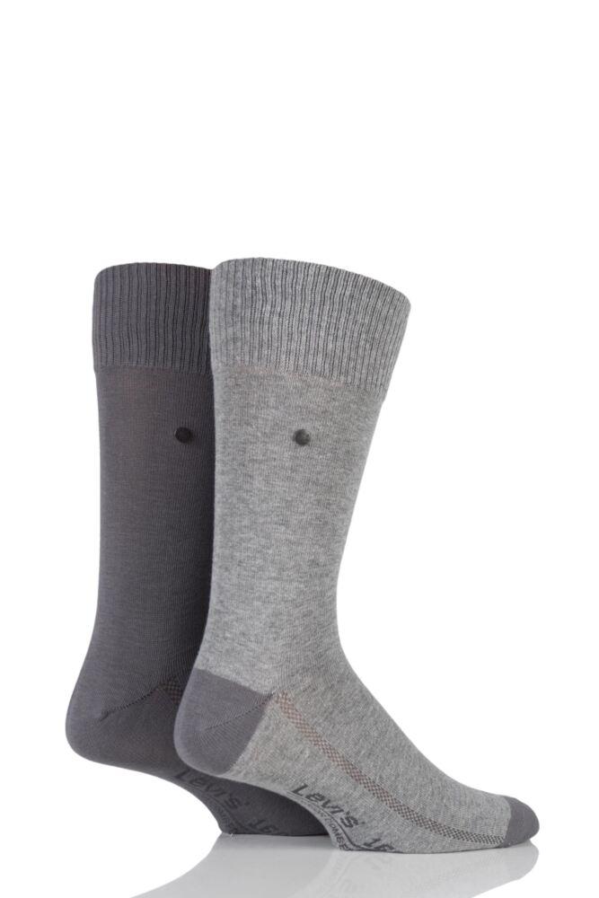 Mens 2 Pair Levis 168SF Plain Cotton Comfort Top Socks