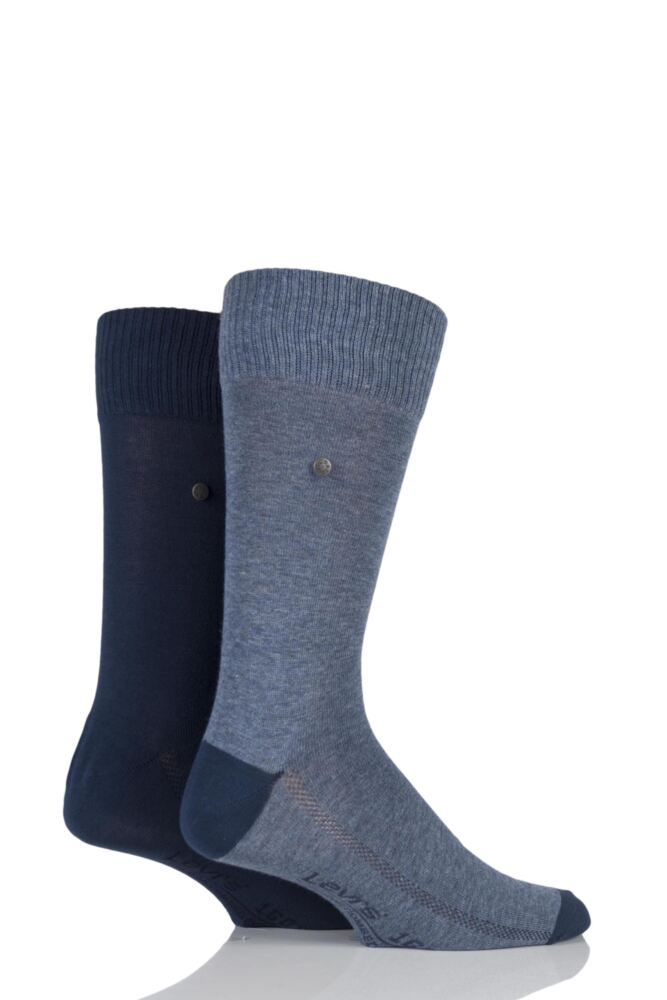 Mens 2 Pair Levis 168SF Plain Cotton Comfort Top Socks