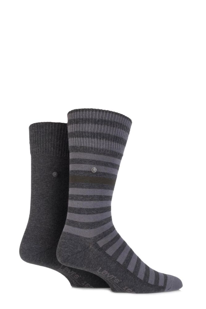 Mens 2 Pair Levis 168SF Cotton Comfort Top Striped and Plain Socks