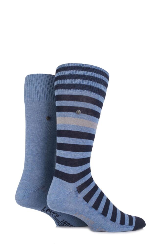 Mens 2 Pair Levis 168SF Cotton Comfort Top Striped and Plain Socks 25% OFF