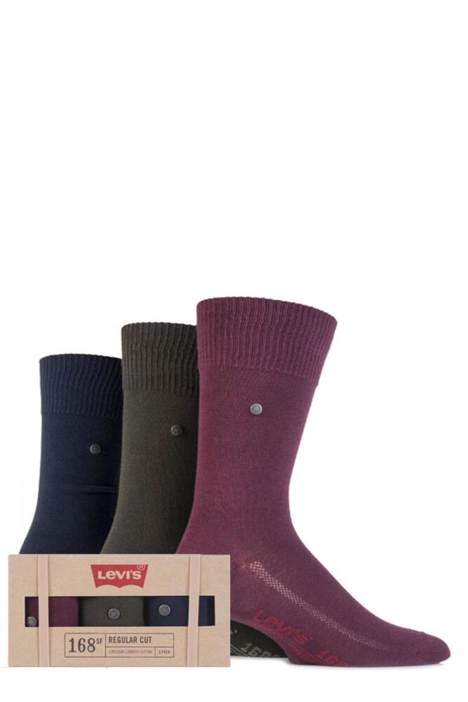Mens 3 Pair Levis Gift Boxed 168SF Cotton Plain Socks 25% OFF