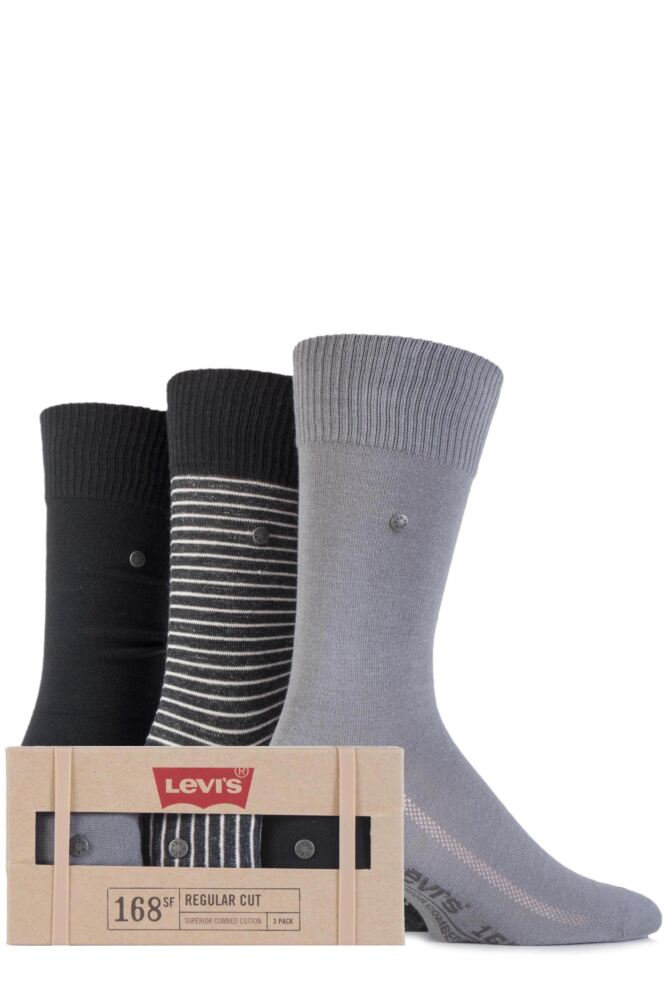 Mens 3 Pair Levis Gift Boxed 168SF Cotton Striped and Plain Socks