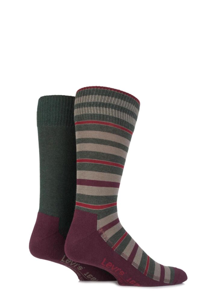 Mens 2 Pair Levis 168LS Striped Cushioned Crew Socks 25% OFF