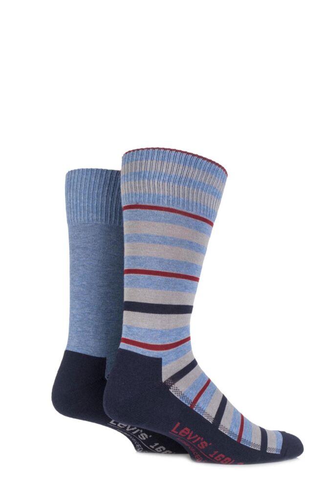 Mens 2 Pair Levis 168LS Striped Cushioned Crew Socks 25% OFF