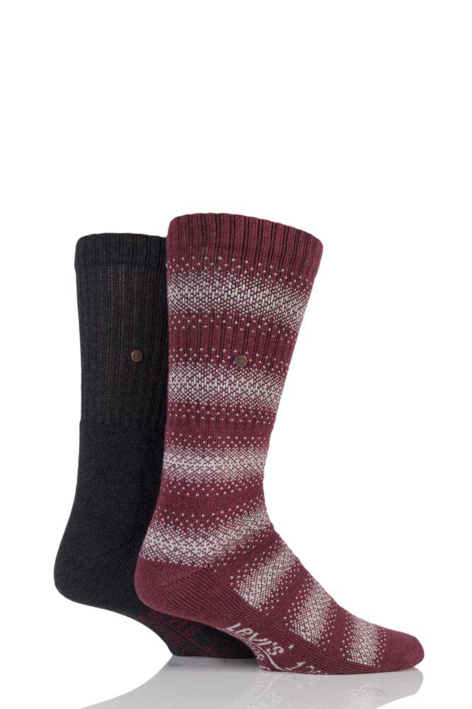 Mens 2 Pair Levis 120SF Classic Rib Graphic Stripe Cushioned Socks