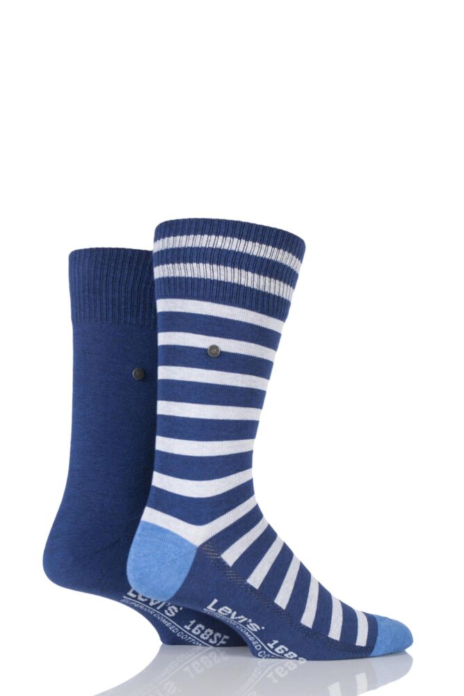 Mens 2 Pair Levis 168SF Mixed Striped Cotton Socks