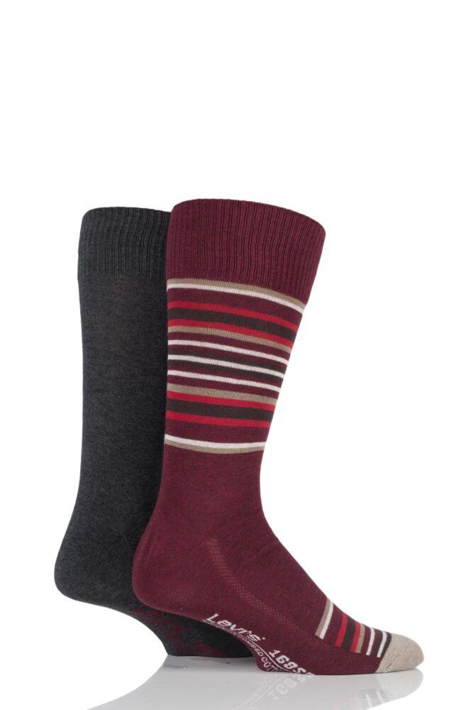 Mens 2 Pair Levis 168SF Comfort Top Blanket Striped Cotton Socks