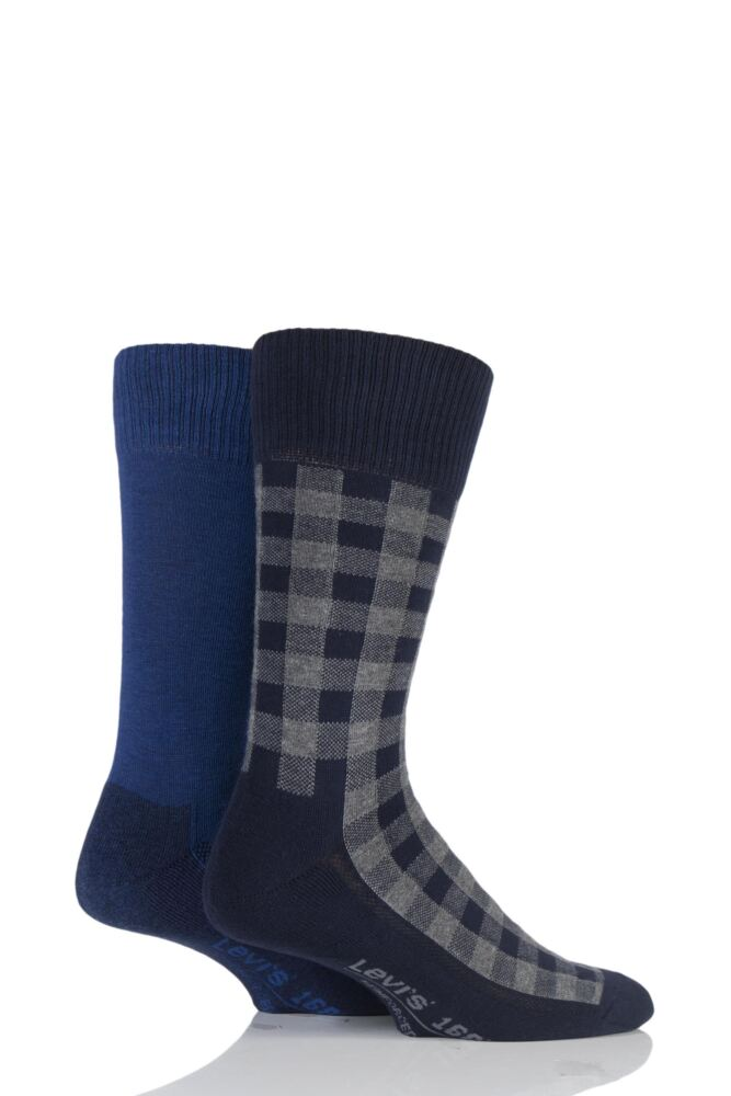 Mens 2 Pair Levis 168LS Graphic Check Cushioned Crew Socks