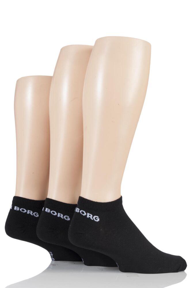 Mens 3 Pair Bjorn Borg Plain Trainer Socks with Logo