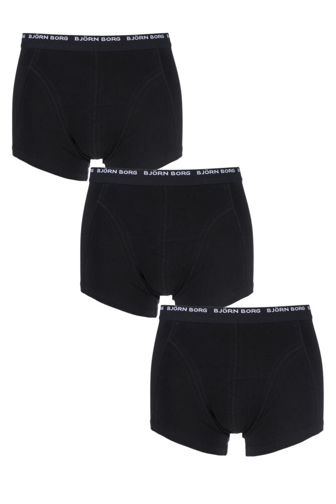 Mens 3 Pack Bjorn Borg Basic Cotton Short Shorts In Black
