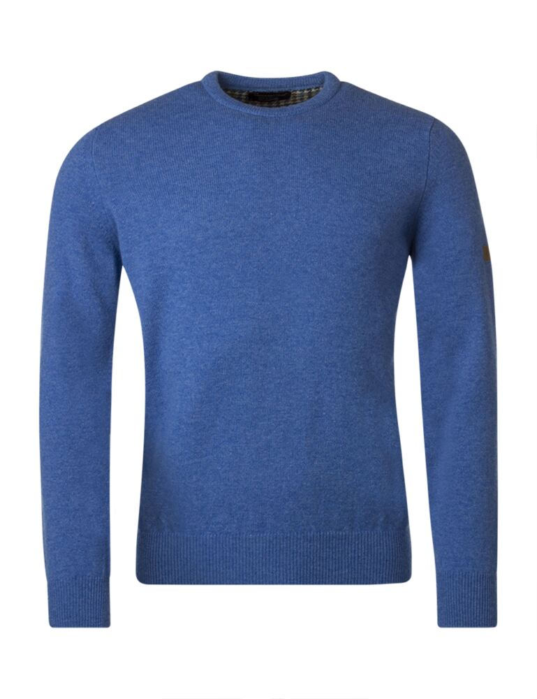 Mens Great & British Knitwear Plain Lambswool Crew Neck Jumper with Harris Tweed Elbow Patches