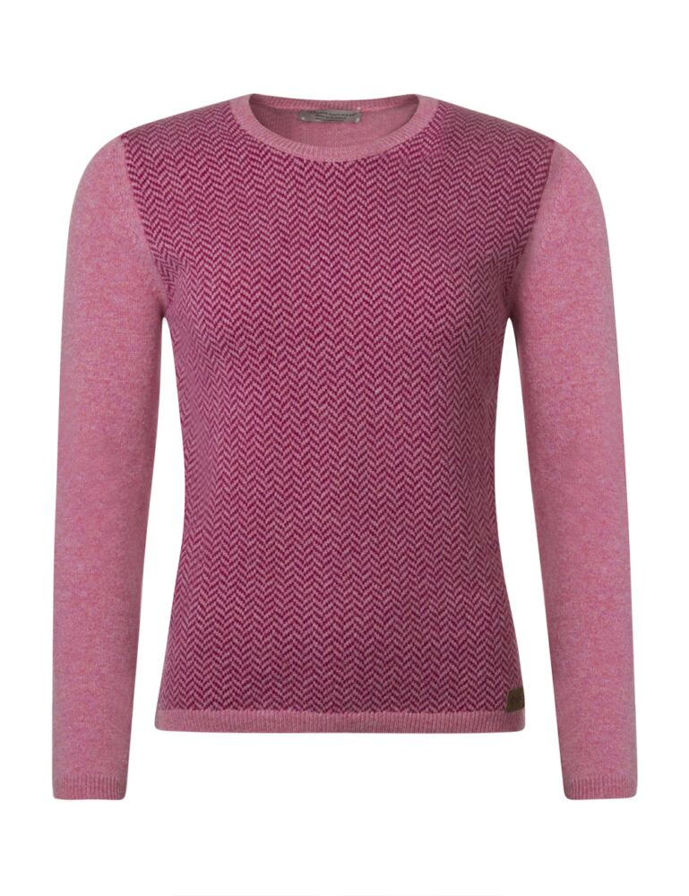 Ladies Great & British Knitwear 100% Lambswool Herringbone Round Neck Jumper with Elbow Patch Detail