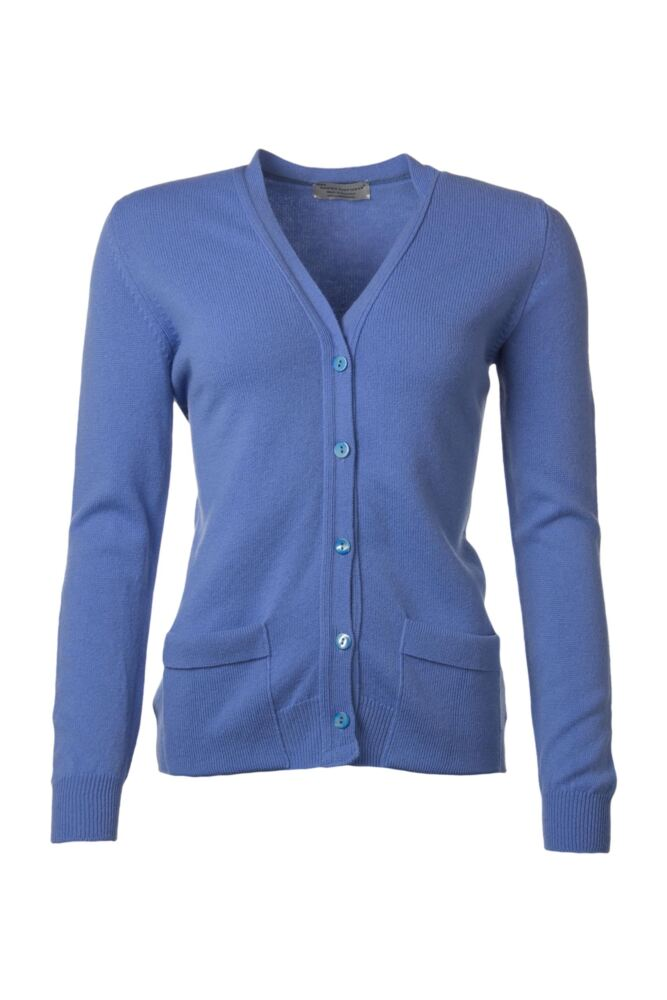 Ladies Great & British Knitwear 100% Lambswool V Neck Cardigan With Pockets