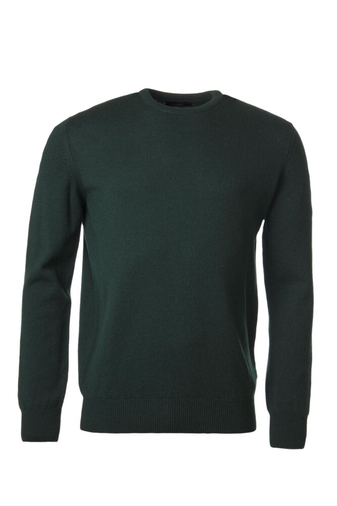Mens Great & British Knitwear 100% Lambswool Plain Crew Neck Jumper Browns and Greens