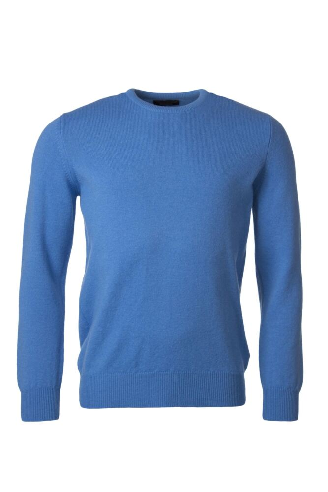 Mens Great & British Knitwear 100% Lambswool Plain Crew Neck Jumper Blue Shades
