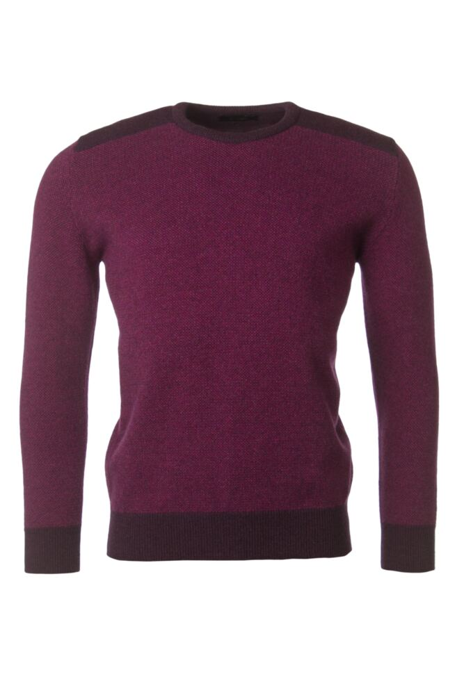 Mens Great & British Knitwear 100% Lambswool Birdseye Crew Neck Jumper