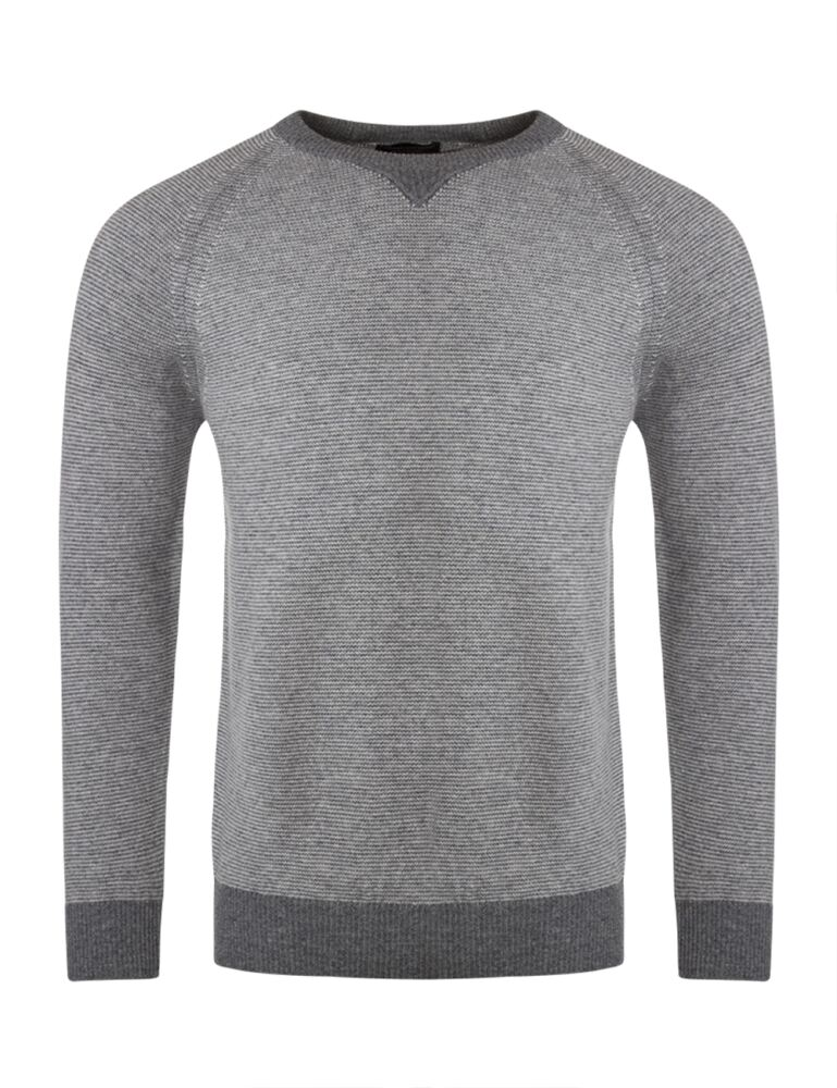 Mens Great & British Knitwear 100% Lambswool Crew Neck Striped Jumper with Neck Detail