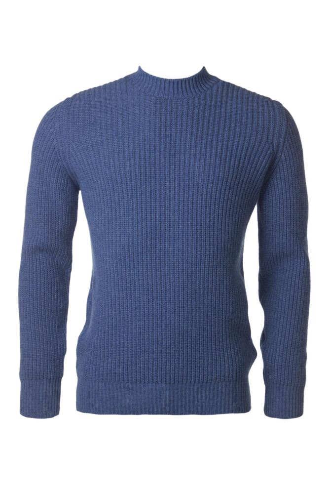 Mens Great & British Knitwear 100% Lambswool Fisherman Rib Crew Neck Jumper