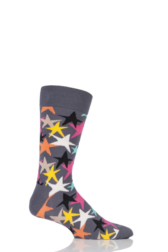 Mens and Ladies 1 Pair Happy Socks Stars Combed Cotton Socks