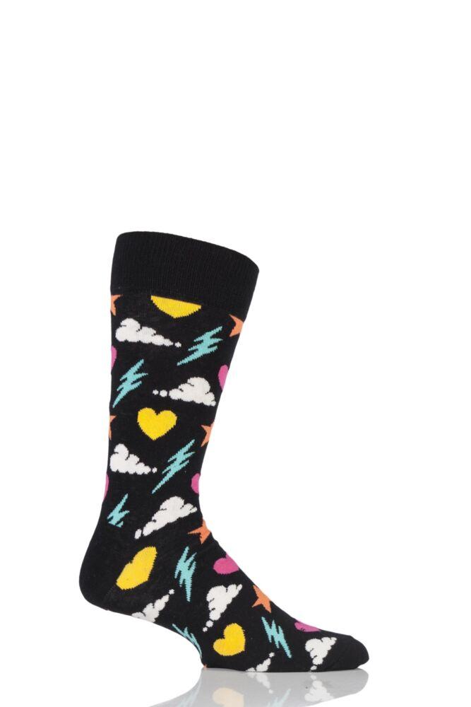 Mens and Ladies 1 Pair Happy Socks Storm Combed Cotton Socks