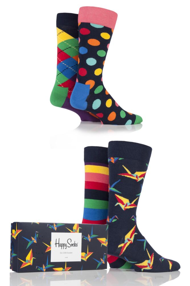 Mens and Ladies 4 Pair Happy Socks Bright Combed Cotton Socks In Gift Box