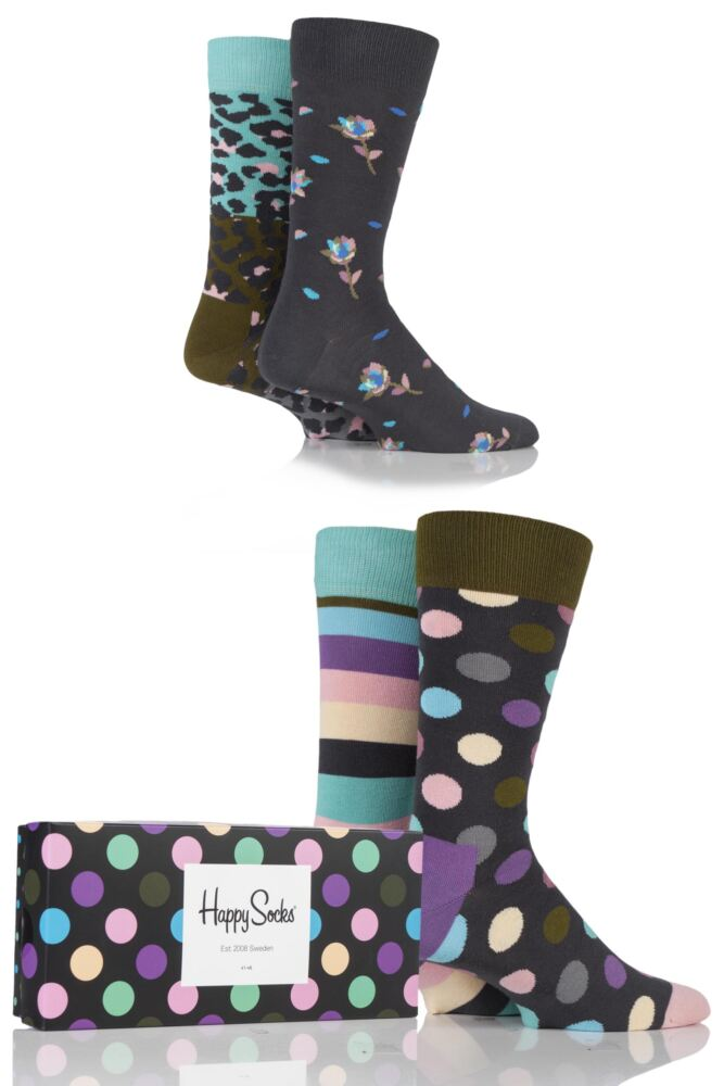 Mens and Ladies 4 Pair Happy Socks Leopard Stripe and Big Dots Combed Cotton Socks In Gift Box