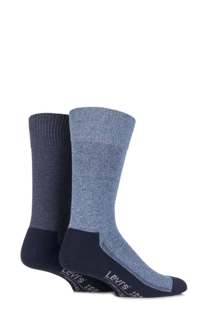 Mens 2 Pair Levis 168LS Plain Cushioned Crew Socks