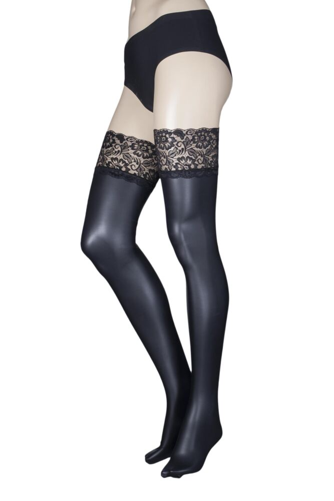 Ladies 1 Pair Trasperenze Allen Leather Look Lace Top Hold Ups