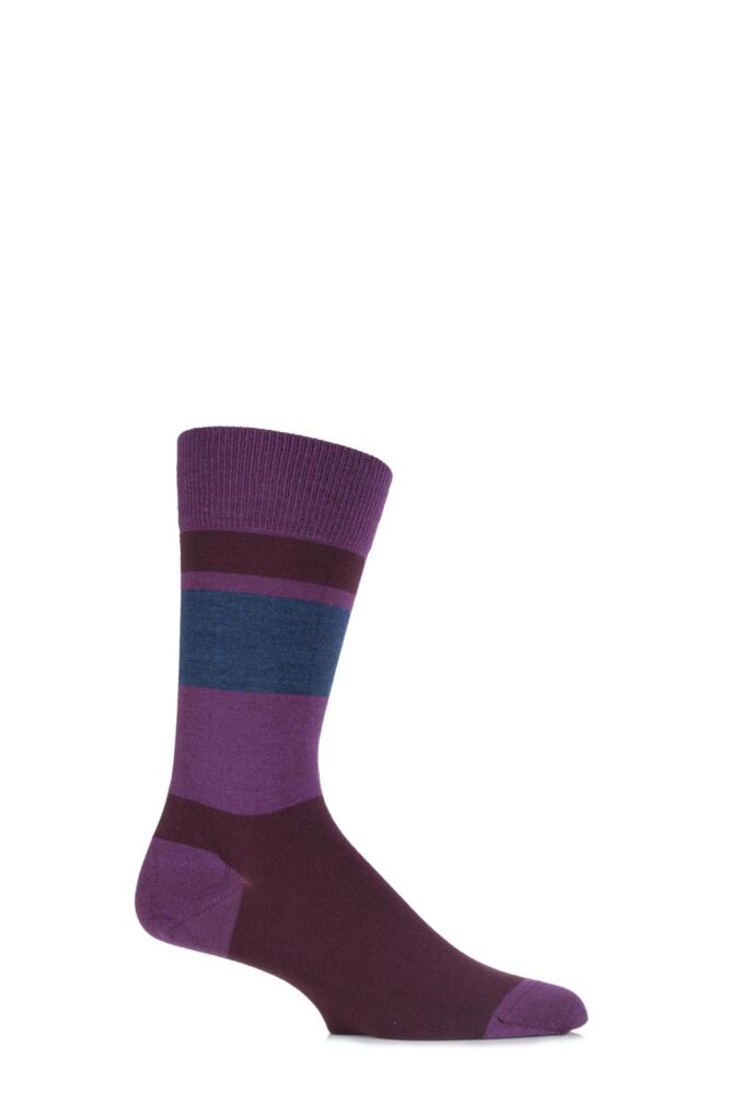 Mens 1 Pair John Smedley Alsop Merino Wool Block Striped Socks