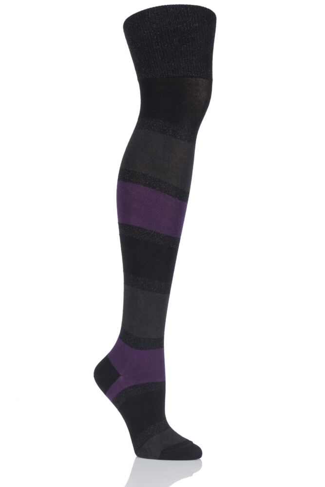 Ladies 1 Pair Trasparenze Archetto Banded Striped Over The Knee Socks