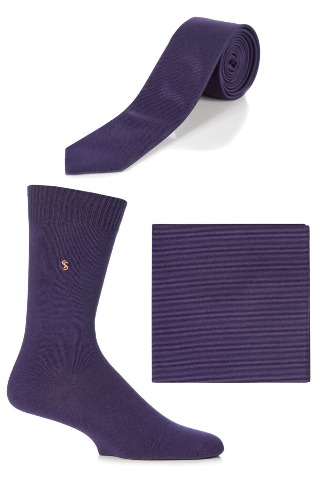 Mens SockShop Colour Burst Socks, Tie and Pocket Square Matching Set - Save over 30%