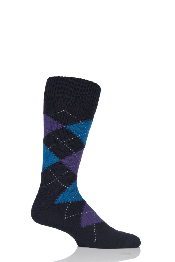 Mens 1 Pair Pantherella Racton Heavy Gauge Merino Wool Argyle Socks