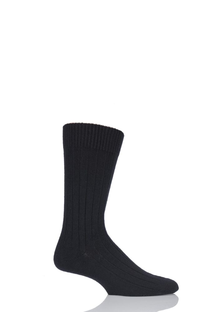 Mens 1 Pair Pantherella Merino Wool Ribbed Leisure Socks