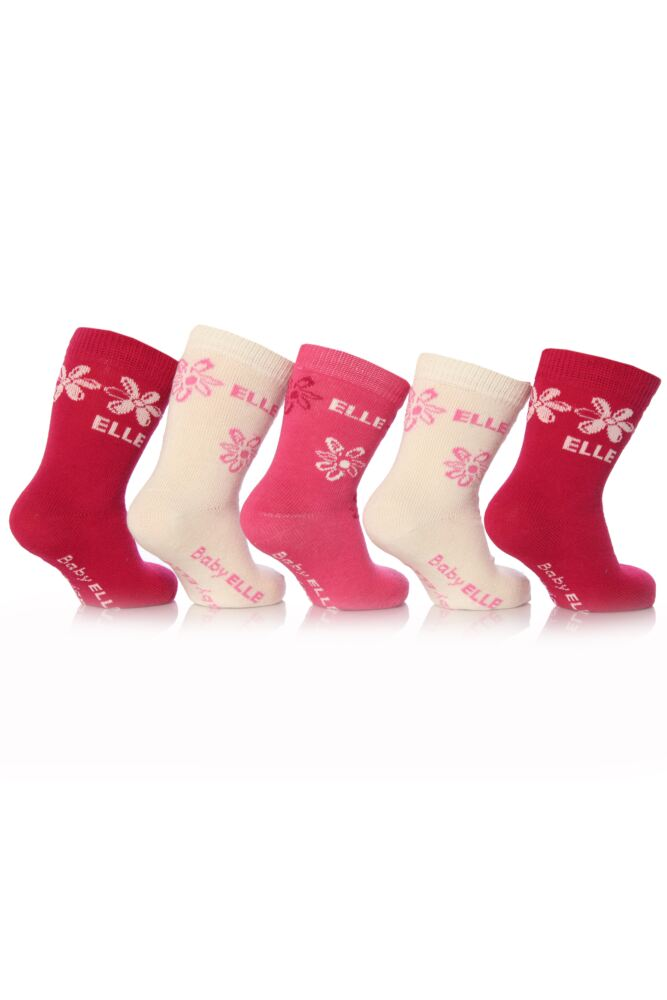 Girls 5 Pair Baby Elle Pink Flower and Plain Socks 75% OFF