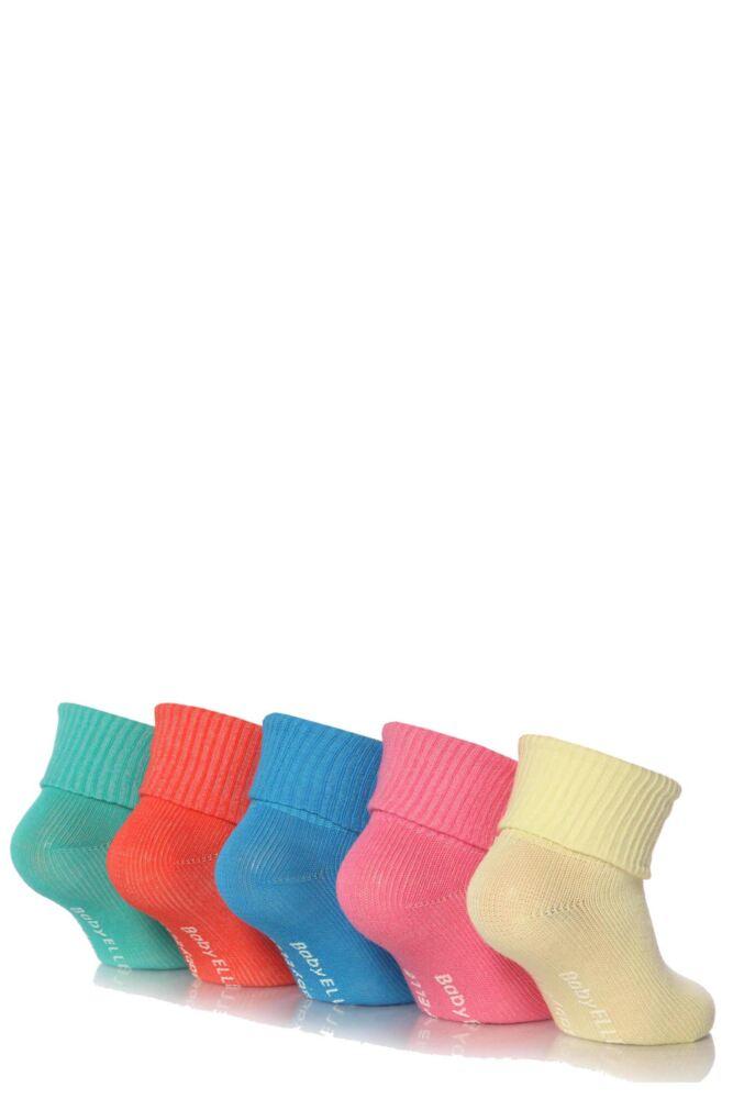 Girls 5 Pair Baby Elle Bright Plain Ankle Socks