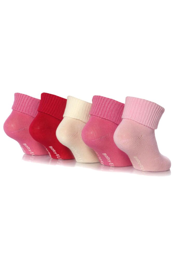 Girls 5 Pair Baby Elle Pink Plain Ankle Socks 33% OFF