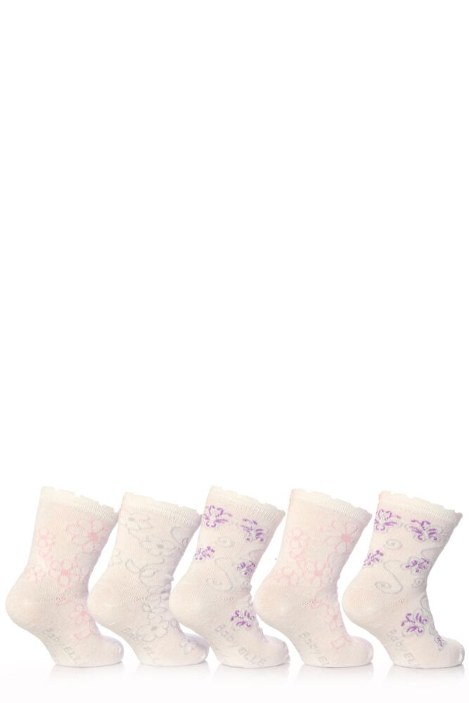 Girls 5 Pair Baby Elle White Flower Socks