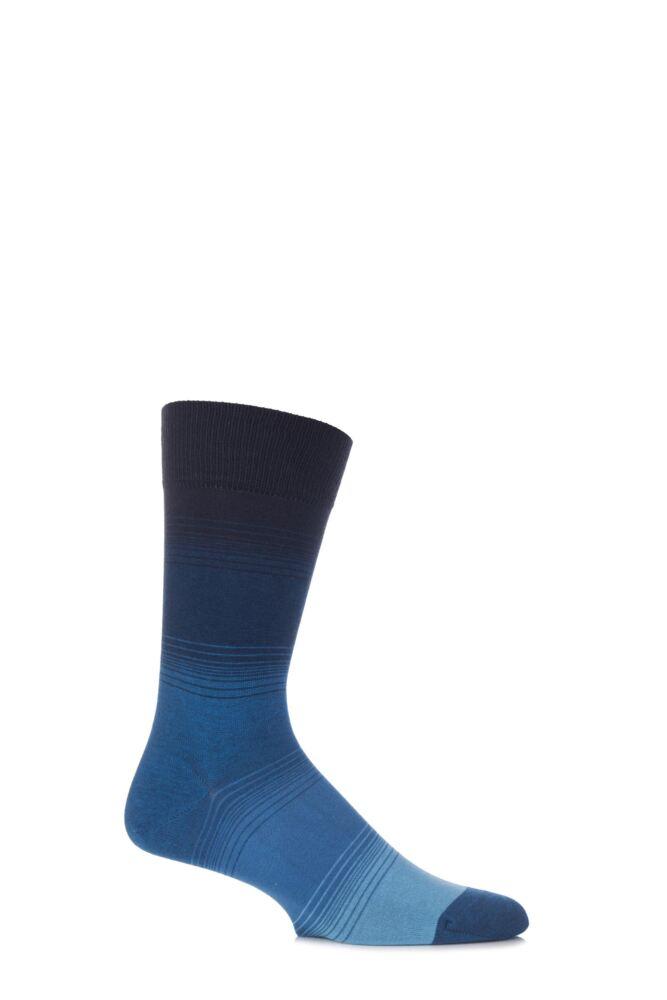 Mens 1 Pair John Smedley Beacon Sea Island Cotton Block Striped Socks 25% OFF