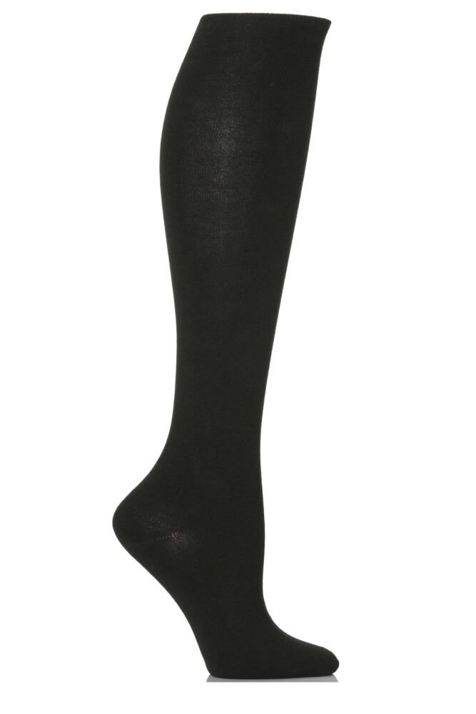Ladies 1 Pair Levante Comfort Top Knee High Cotton Socks