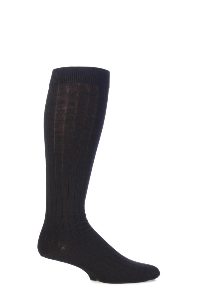 Mens 1 Pair Viyella Knee High Wool Ribbed Socks With Hand Linked Toe
