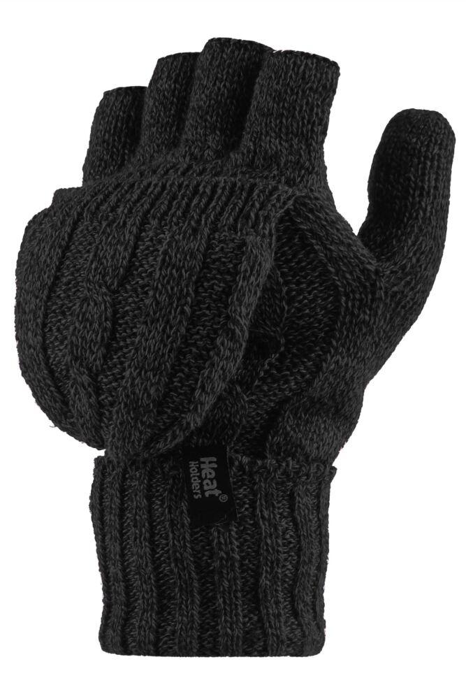 Ladies 1 Pair Heat Holders 2.3 Tog Heatweaver Yarn Fingerless Gloves with Converter Mitt