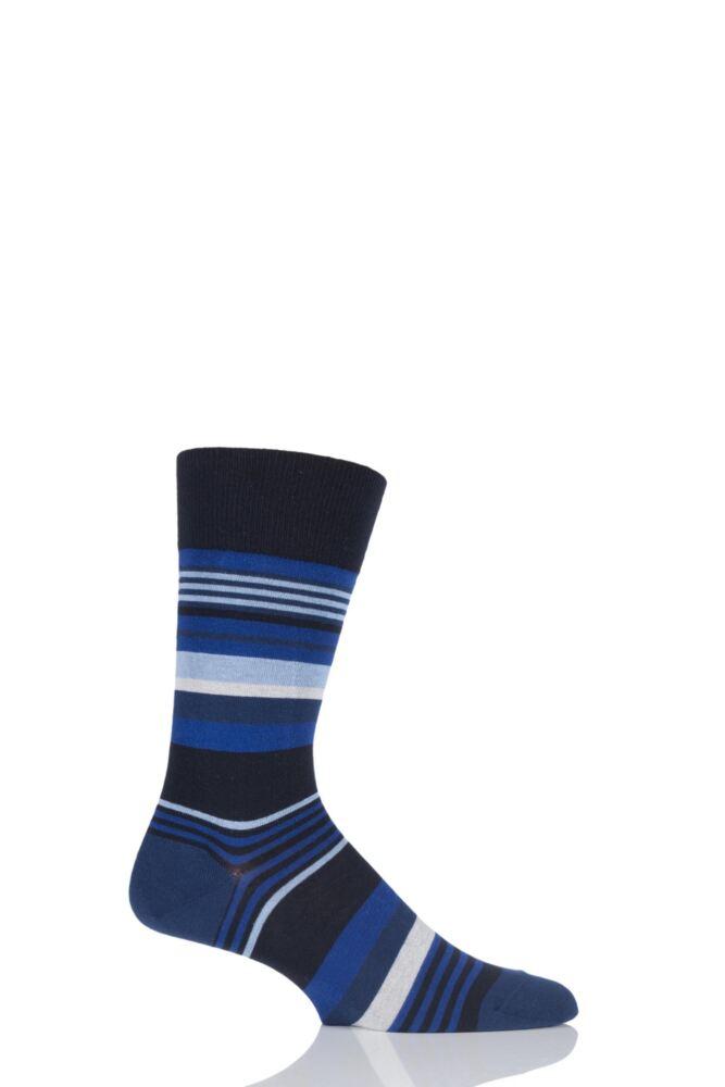 Mens 1 Pair Falke Multi Striped Cotton Socks